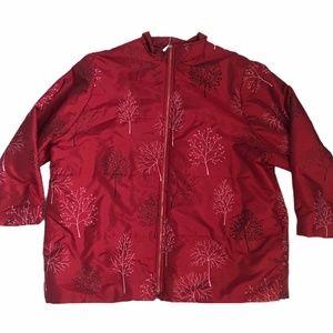 Teddi Winter Tree Red Puffer Coat Plus Size Jacket